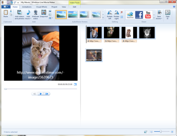 Choose Images for Windows Movie Maker