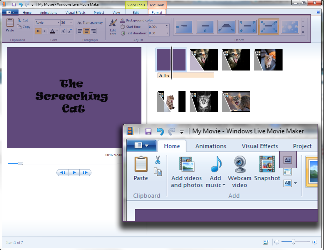 how to add a title in windows movie maker